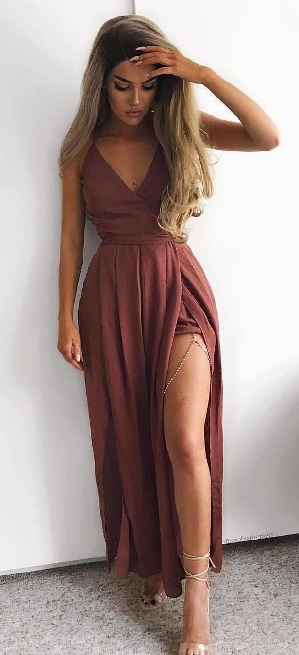 Do Not Mind The Length With These Chic Summer Dresses Birthday Dress Women Burgundy Maxi Dress Preppy Fall Outfits
