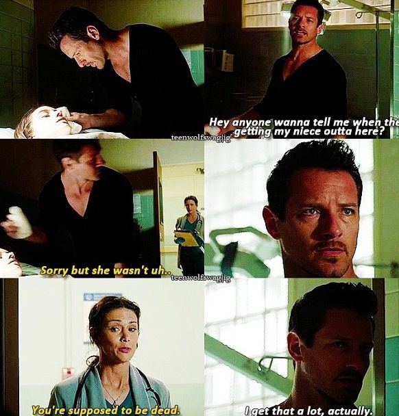 Teen Wolf. Peter Hale and Melissa McCall. I thought it was really interesting that when he saw who it was he backed into the shadows and tried to kind of hide himself. It was almost like he was ashamed of her seeing him?? Don't know....