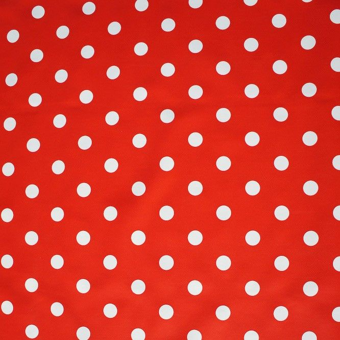 Tafelzeil Rood Witte Polkadot Stippen - Hip tafelzeil met witte polkadot stippen op een rode achtergrond. Dit tafelzeil heeft een zachte 'non woven' vliesrug. De onderrug bestaat hierbij uit een samenstelling van polypropyleen. De bovenkant is gemaakt van PVC. Houd uw tafelkleed gemakkelijk schoon met een vochtige doek. Ideaal voor mensen met kinderen.
