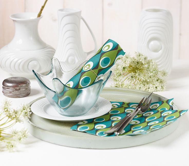 Paper + Design - modern designed blue / green premium paper napkins from Germany
