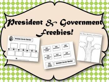 A fun way to study the presidents!  This includes:~note taking sheet with book ideas~George Washington Timeline {cut and paste}~Abraham Lincoln Timeline {cut and paste}~Three Branches of Government Tree {flip-up}~Pictures to help you!As always, I love your feedback!Stop by my blog for more ideas and freebies!http://toristeachertips.blogspot.com