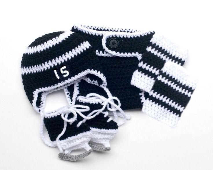 BABY HOCKEY BOY Baby Hockey Outfit, Crochet Hockey Outfit, Black White Hockey, Newborn Knit Hockey, Baby Knit Hockey Hat, Knit hockey Skates by Grandmabilt on Etsy