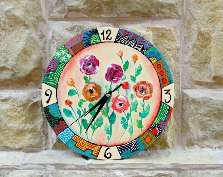 "Hand-painted wall clock. Ceas de perete ""Roses"""