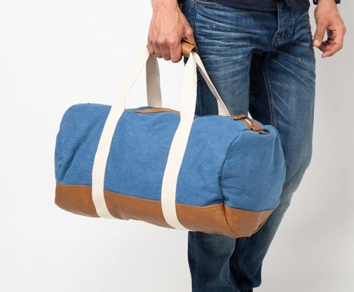 Blue Denim Contrast Trim Holdall by RIVER ISLAND features contrast ecru handles and brown leather look trims. Keep your essentials intact in this stylish sling bag. Made from canvas material, with blue denim color, with handle and adjustable strap.   http://www.zocko.com/z/JINnG
