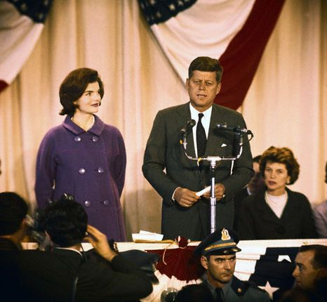 JFK addresses the nation the day after the election at the Hyannis Armory.