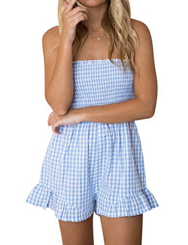 a36aee660e WLLW Women Casual Sleeveless Off Shoulder Plaid Print Playsuit Jumpsuit  Romper