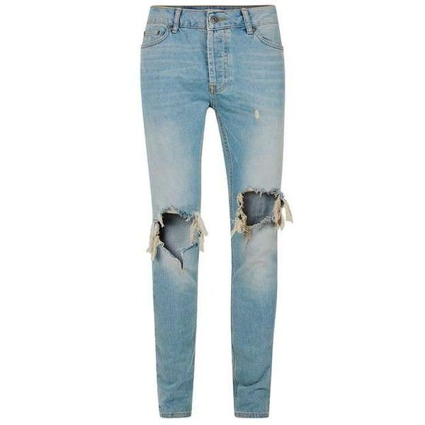 Light Wash Blue Extreme Ripped Stretch Skinny Jeans ($85) ❤ liked on Polyvore featuring jeans, light wash ripped jeans, distressed jeans, ripped jeans, destroyed jeans and light wash skinny jeans