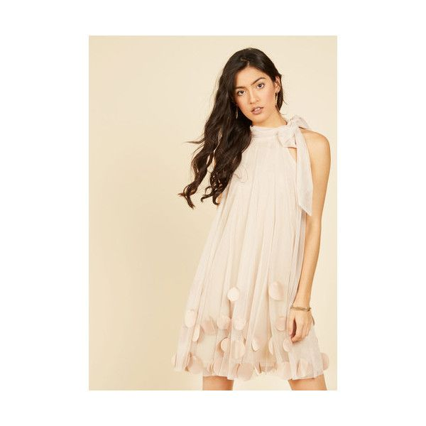 Ryu Pastel Mid-length Sleeveless Shift All Neutral Shift Dress ($100) ❤ liked on Polyvore featuring dresses, apparel, cream, tea party dresses, pink shift dress, mid length dresses, convertible dress and cream shift dress
