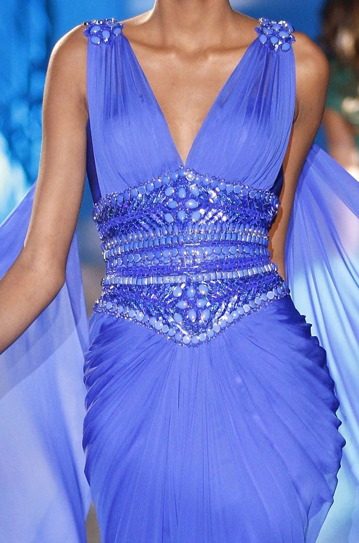 Zuhair Murad Couture 2012: Zuhair Murad, Dresses Details, Design Clothing, Colors, Dresses Collection, Couture 2012, Gowns, Beads Belts, Periwinkle Blue