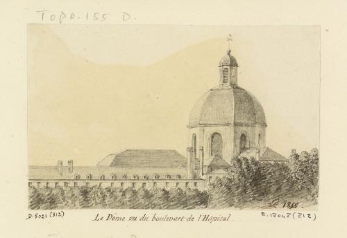 Salpêtrière (la). Vieillesse (Femmes). 3 dessins : Le Dôme vu du boulevart de l'Hôpital | Paris Musées