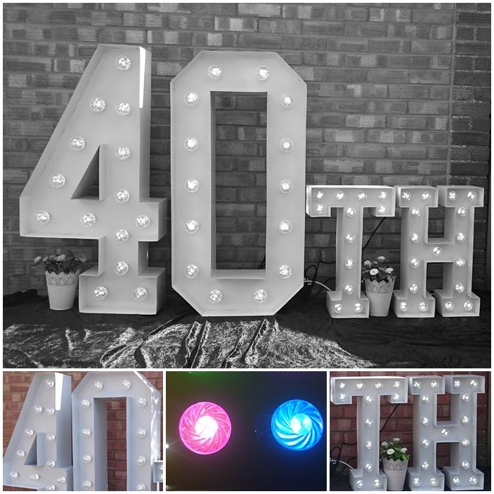 40th Large Light Up Letters for Birthday Celebrations.