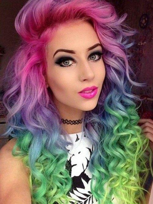 rainbow hair and gorgeous makeup