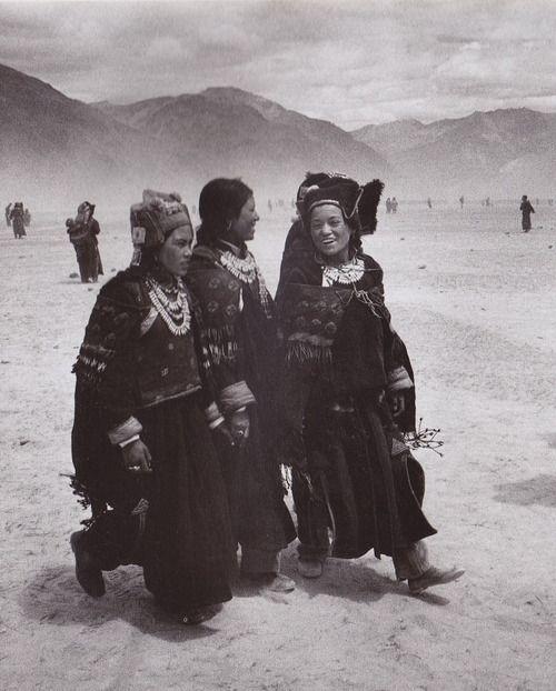 vintage photo. women smiling and walking.