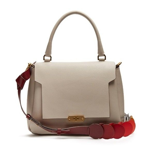 Anya Hindmarch Bathurst Circle small leather bag (75,040 PHP) ❤ liked on Polyvore featuring bags, handbags, grey multi, circle handbags, gray handbags, real leather handbags, grey handbags and leather bags