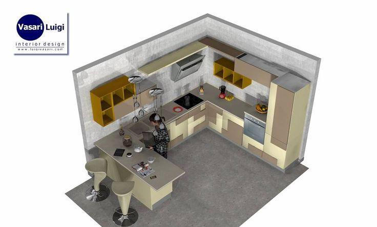Progetto per una cucina a golfo - Modello Creativa by Lube cucine