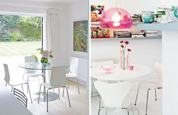 Mesas redondas vidro/branca com cadeiras cromadas