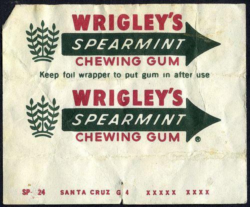 Wrigley's - Spearmint - chewing gum wrapper - 1970's