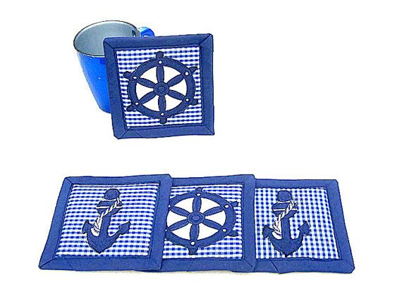 Nautical applique sailboat fabric coaster  Set of 4 by SABDECO