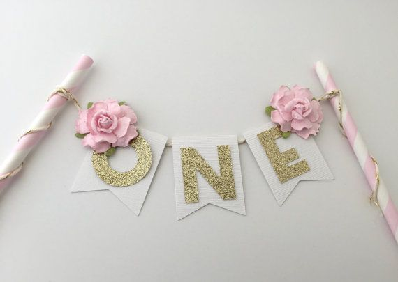 Personalize your cake with this gold glittery floral cake topper. This listing is for a paper straw cake topper embellished with 2 beautiful