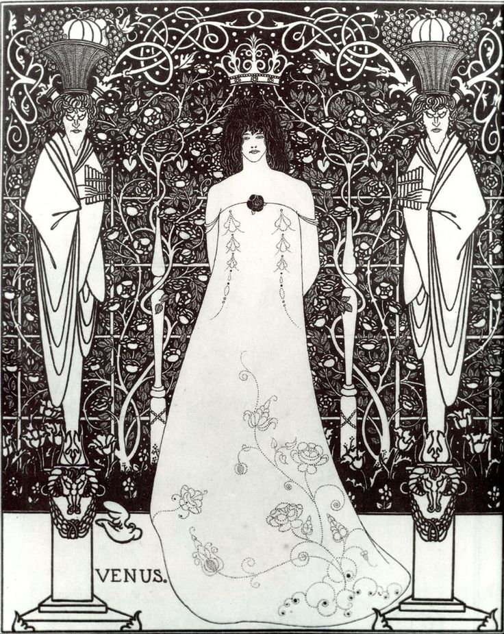 Aubrey Beardsley - Illustration - Art Nouveau - Venus between Terminal Gods, 1895: