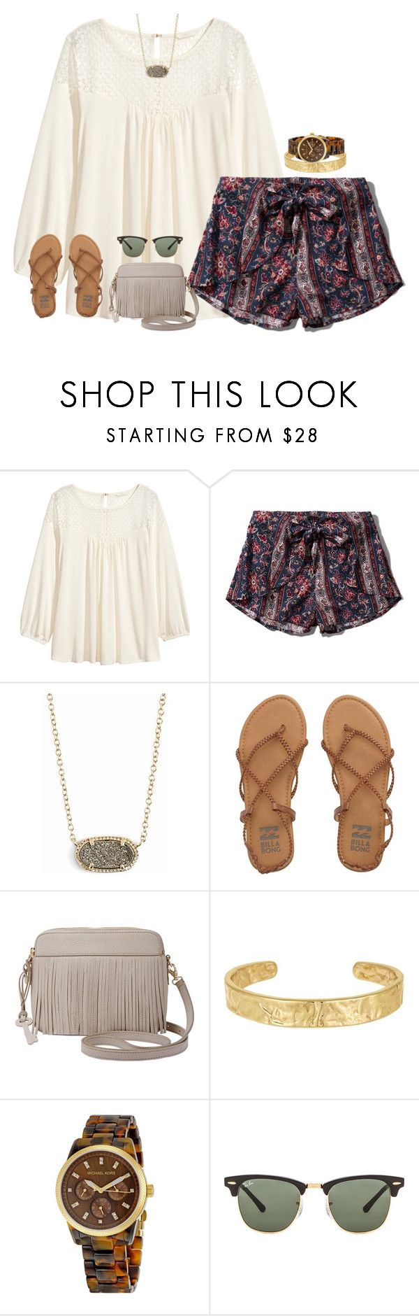"""day 3- shopping"" by hmcdaniel01 ❤ liked on Polyvore featuring H&M, Abercrombie & Fitch, Kendra Scott, Billabong, FOSSIL, Sam Edelman, Michael Kors and Ray-Ban"