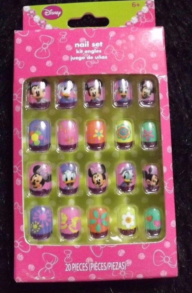 new package Minnie Mouse Daisy Duck Cartoon 20 pcs faux nail set manicure kids #Disney