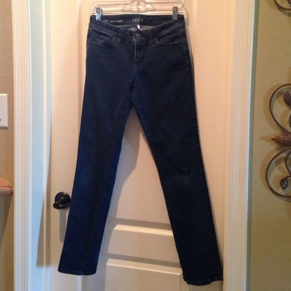 "Ann Taylor Loft Denim Ann Taylor dark wash denim with stretch. Barely worn and in great condition! No fraying or rips. Very comfortable and stylish too!inseam is 29 1/2"". Ann Taylor Jeans"