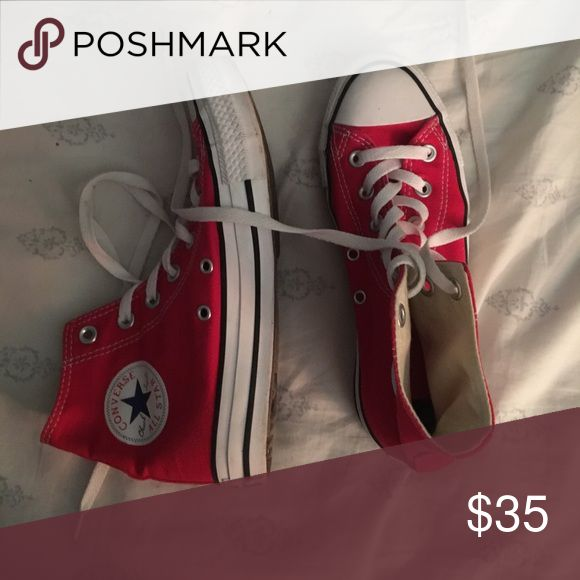Red High top Converse almost new, only worn a couple of times. super cute and go with everything Converse Shoes Sneakers