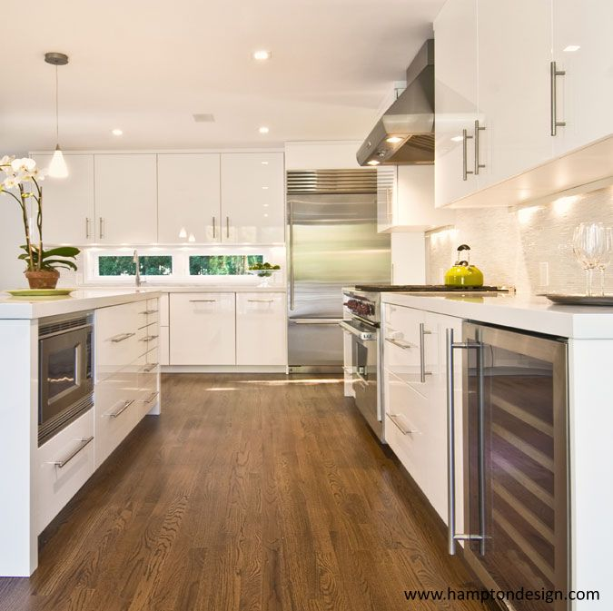 modern white cabinets + wood flooring