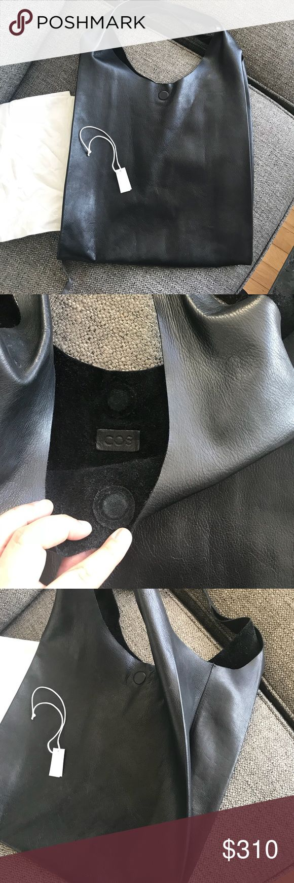 COS Leather Tote Bag In great Used condition, Leather is butter soft, magnetic closure. Sold out everywhere. This bag is such a great bag to take for work fits a big laptop, or ever grocery shopping. Very universal. US Leather COS Bags