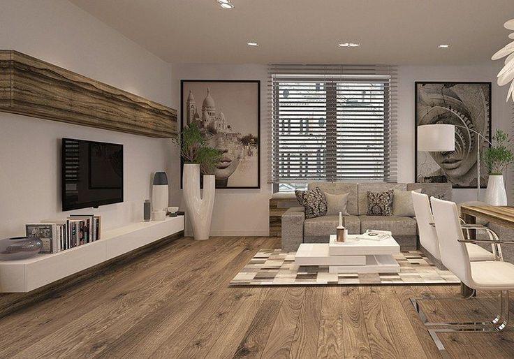 salon moderne avec parquet, tapis mosaïque, meuble TV bas en blanc/bois et écran plat mural