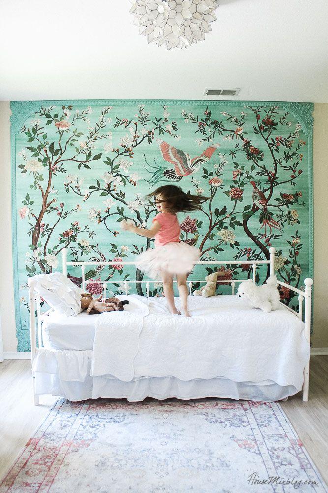 Framed Green Garden Mural In Girl S Room Girls Bedroom Green
