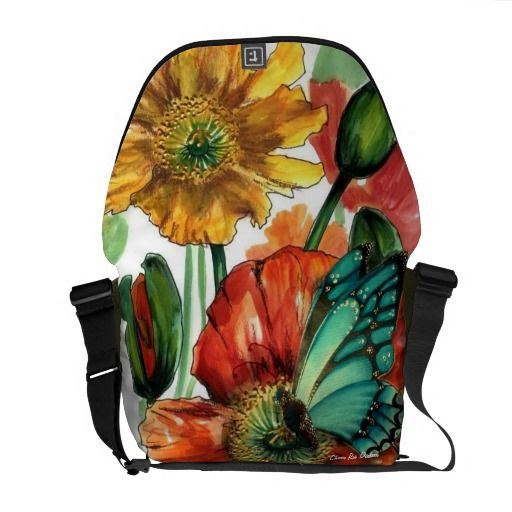 Poppies with Blue Butterfly Messenger Bag  #poppybag #butterflybag #butterfly #poppy #designerbag #christmas #gifts