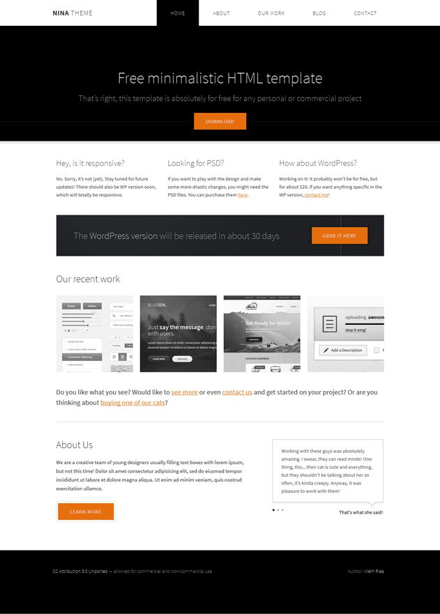 Free minimalistic #HTML template That's right, this #Template is absolutely for free for any personal or commercial project
