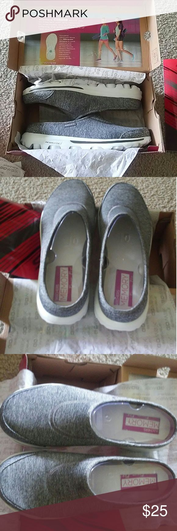 Skechers GoWalk memory form fit ladies sz 10 gray Skechers  GoWalk memory form fit  Fixate  Ladies sz 10 Color  gray  Worn in the store to try on only  Come in box Skechers Shoes Sneakers