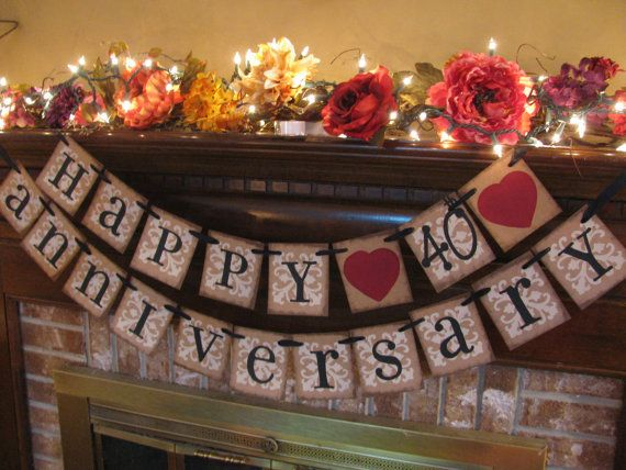 Ruby Wedding Anniversary 40th Banner Sign Garland Perfect Decoration for Anniversary Party. $28.00, via Etsy.