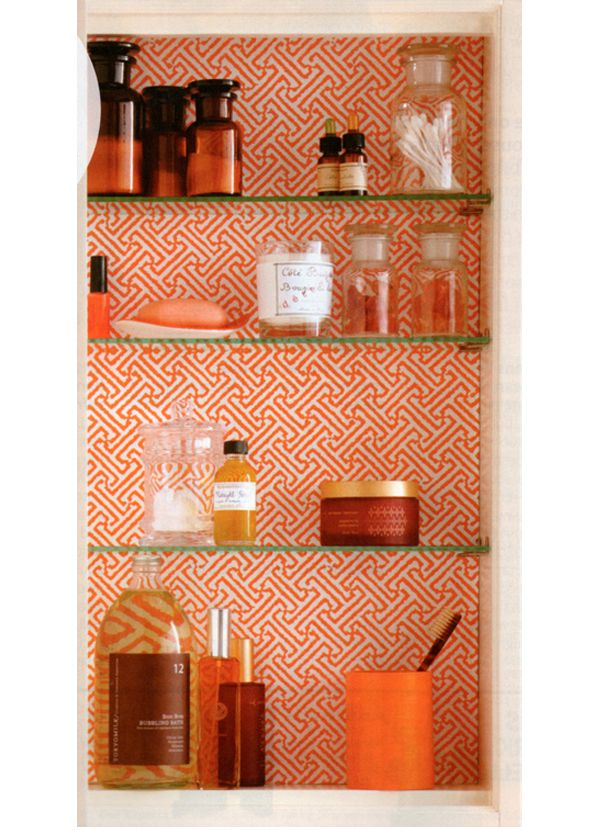 I love the beautiful paper in this medicine cabinet.  I think I will buy scrapbook paper, cut to size, laminate, then glue to the back of the medicine cabinet . The lamination will allow for easy cleaning (if needed).