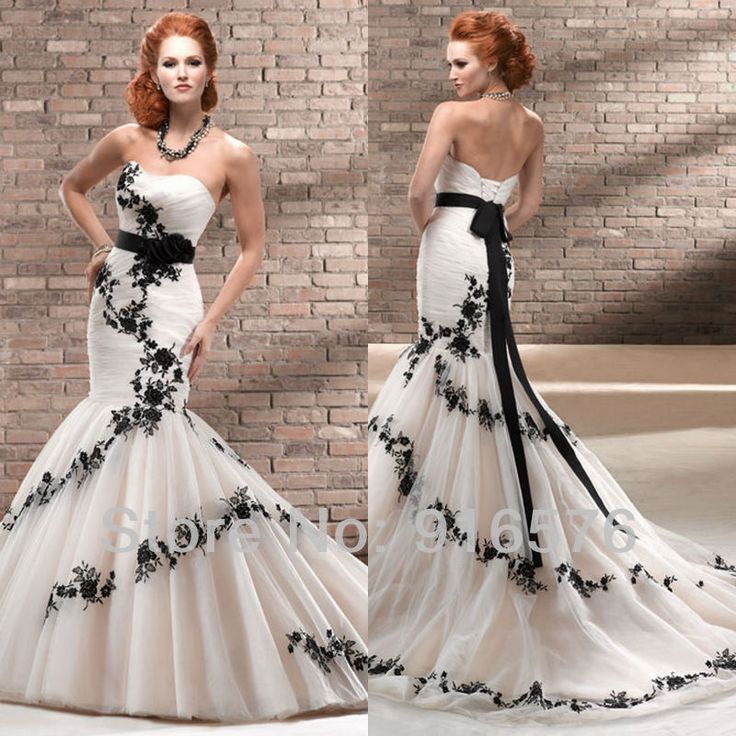 Enchanting Black And White Mermaid Wedding Dresses Sweetheart Low Back Lace Sash Corset Chapel Train Flower Dress Bridal Gown-in Wedding Dresses from Apparel & Accessories on Aliexpress.com | Alibaba Group