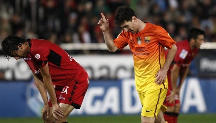 Lio Messi, FC Barcelona | Mallorca 2-4 FC Barcelona. >Messi dedicando su gol a Thiago< 11.11.12.