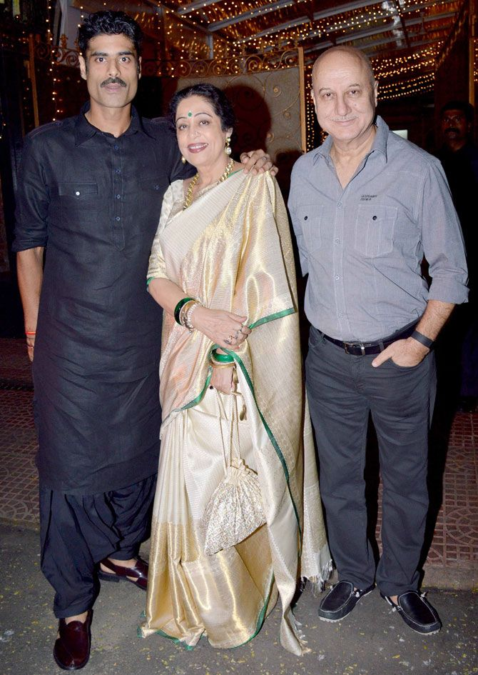 Anupam Kher with wife Kirron and son Sikander snapped outside Aditya Chopra's residence. #Bollywood #Fashion #Style #Beauty #Desi #Saree #Family