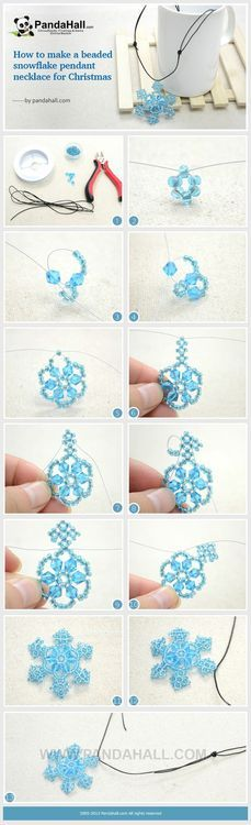 Jewelry Making Tutorial-How to Make Beaded Snowflake Pendant Necklace for Christmas