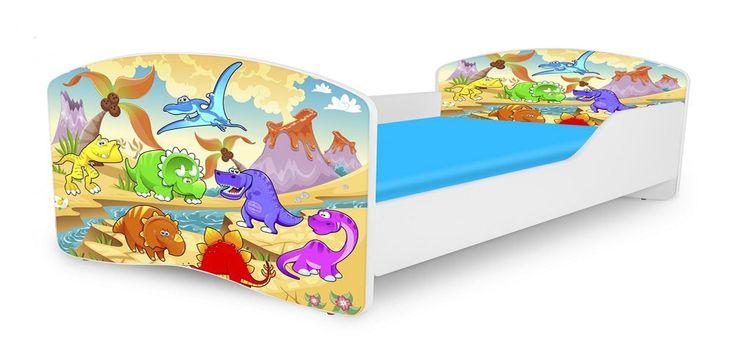 Dinosaur Twin Platform Car Bed Frame for Children, Boys, Girls, Kids - Bedroom Furniture