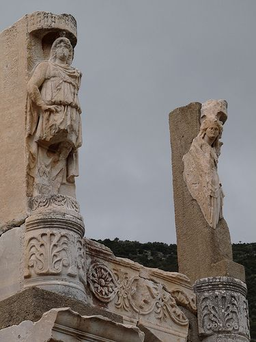 Statues on Temple of Domitian, Ephesus, Lydia modern Turkey
