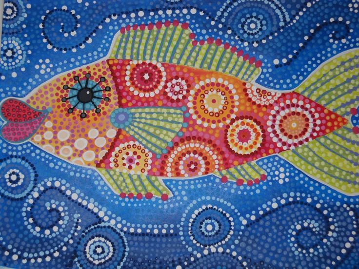 13 best aboriginal images on pinterest school aboriginal art whimsical fish dot art painting toneelgroepblik Image collections