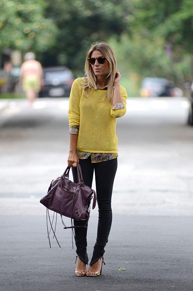 glam4you - nati vozza - look - blog - tricot - jeans - balenciaga - amarelo - street style