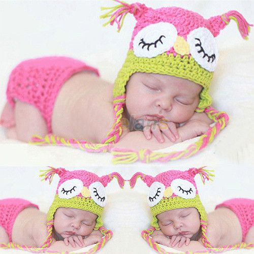 Crochet Newborn Outfits : Newborn crochet outfit Owl Newborn knitted outfit Baby girl hat ...