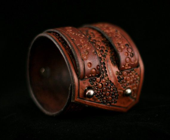 Wide+Leather+Cuff+Tribal+Edgy+Urban+by+OneSugarBlackCoffee+on+Etsy,+$75.00