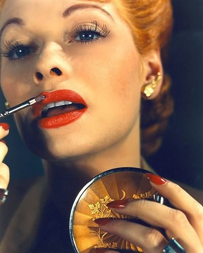 """A woman who doesn't wear lipstick, feels undressed in the public. Unless she works on a farm."" -Max Factor Lucille Ball applying lipstick ♥ FROM VINTAGE MAX FACTOR"