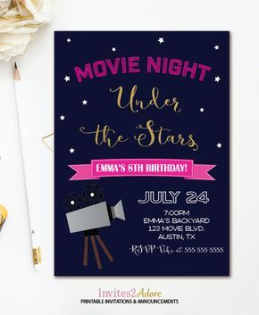 movie night birthday invitation outdoor movie party girl