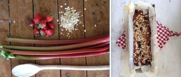 NOOR's rabarberbrood met aardbeien